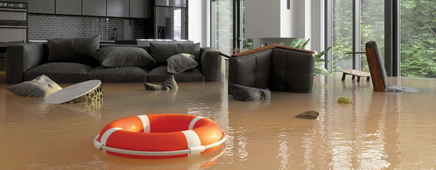 Flooded living room and life preserver